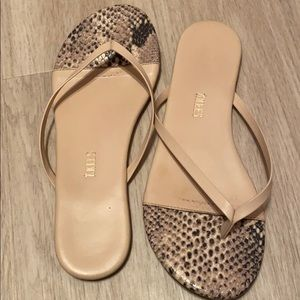 Tkees Sandals in Beige Snake Print - Size 7